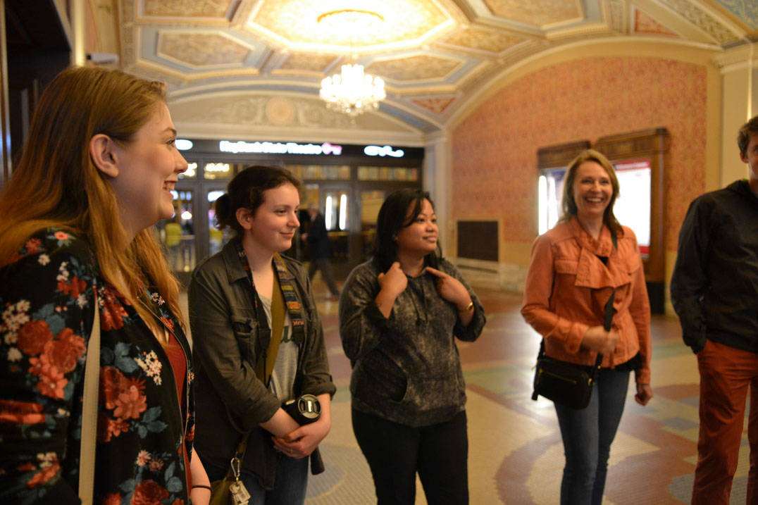 Ursuline historic preservation degree students in Playhouse Square