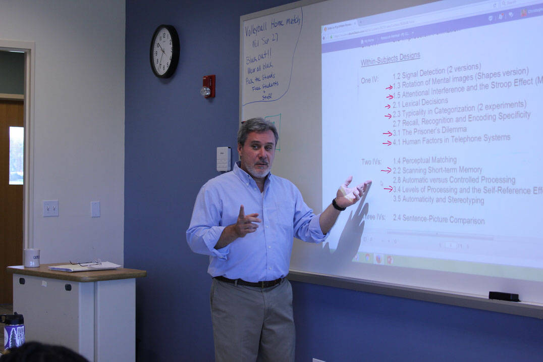 Professor instructs class on assignment