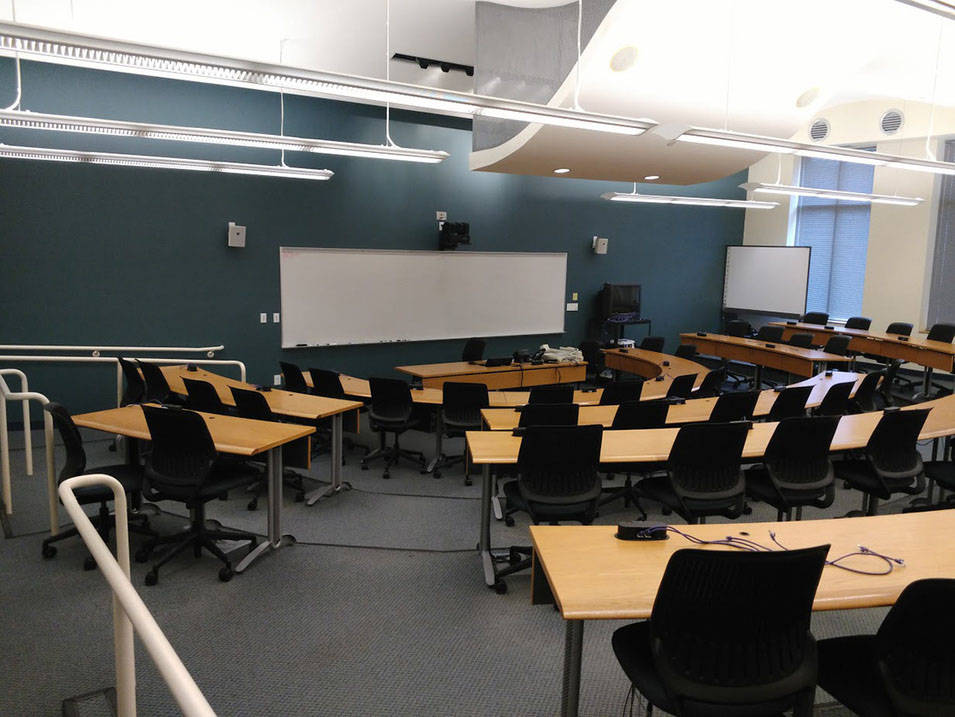 An auditorium-style classroom at Ursuline College