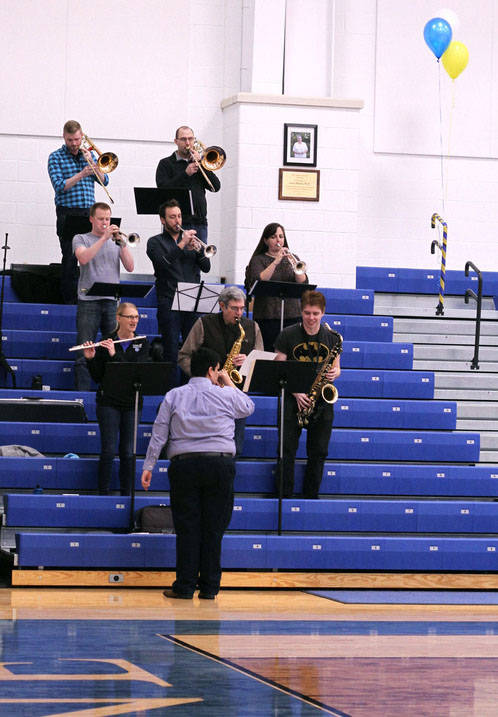 Ursuline Pep Band performs at basketball game