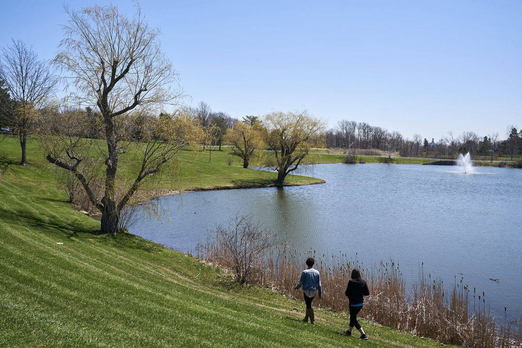 The lake offers a peaceful place to walk.