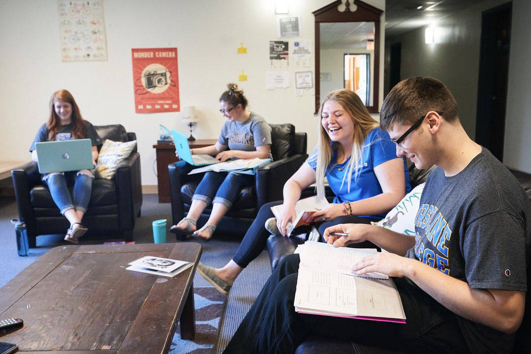 Students gather to study in an Ursuline College residence hall.