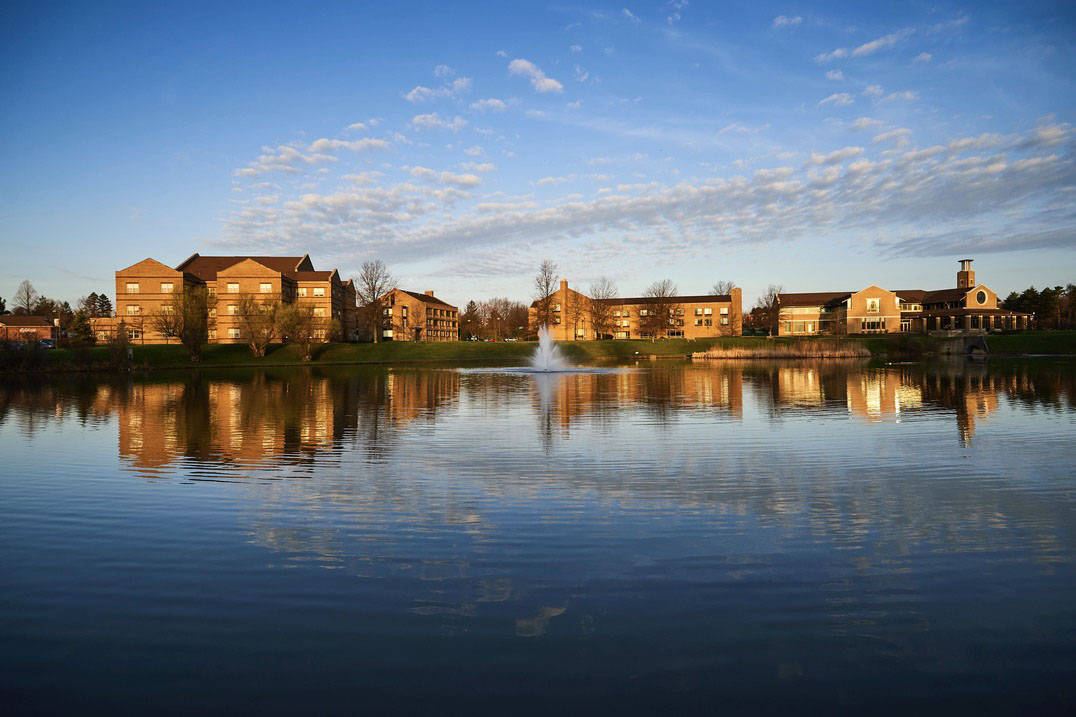 The Ursuline Campus lake at Sunset.