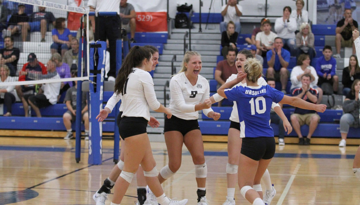 Ursuline College volleyball team celebrates
