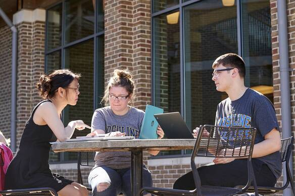 Ursuline College students study at an outdoor table.