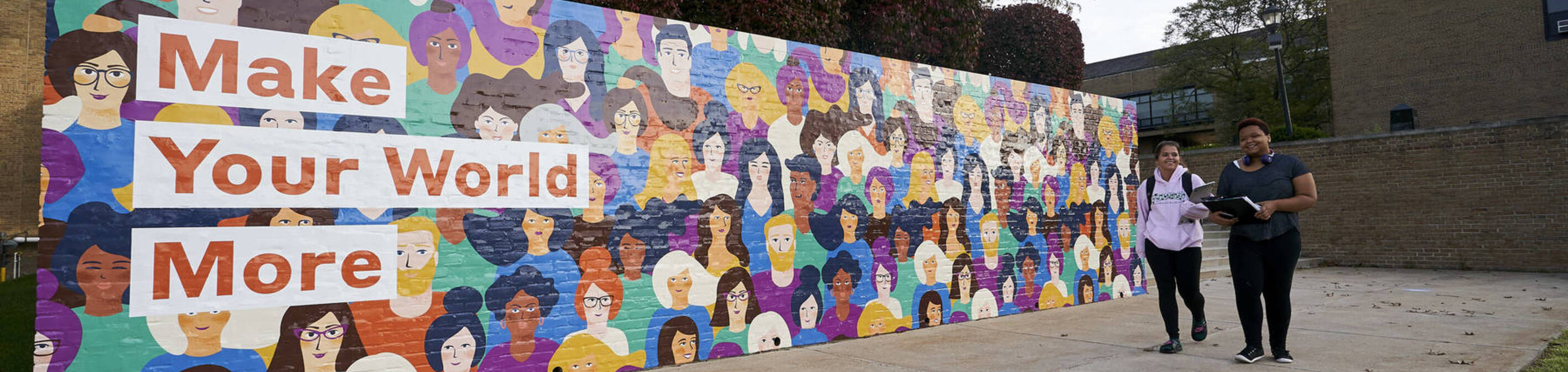 ursuline students walking by make your world more mural