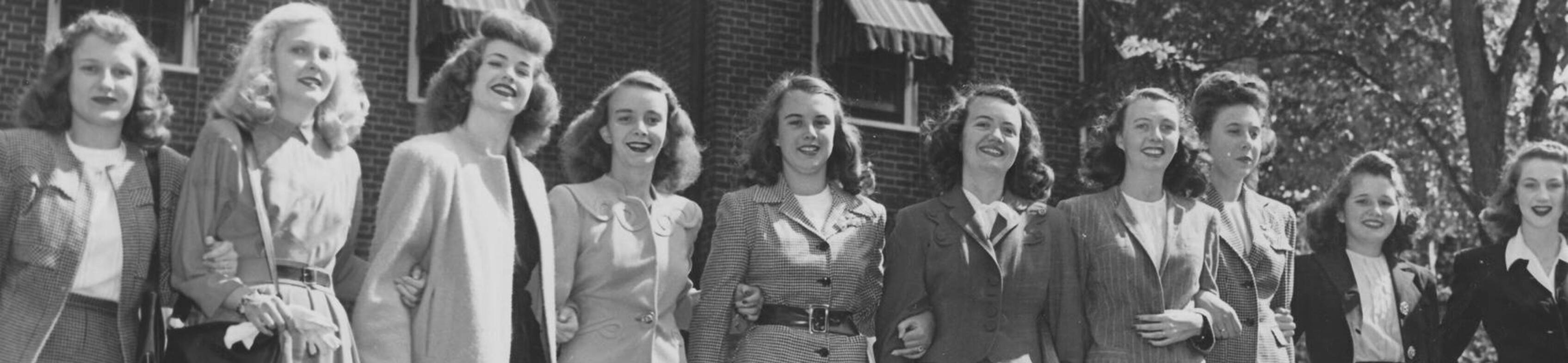 Ursuline college old photo of students in the 1940s