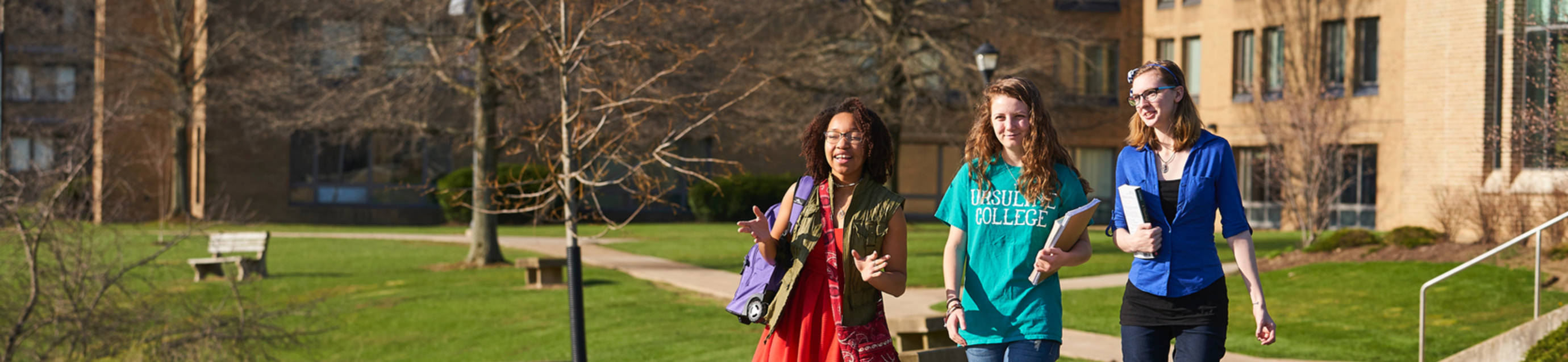 Ursuline college students walking to class
